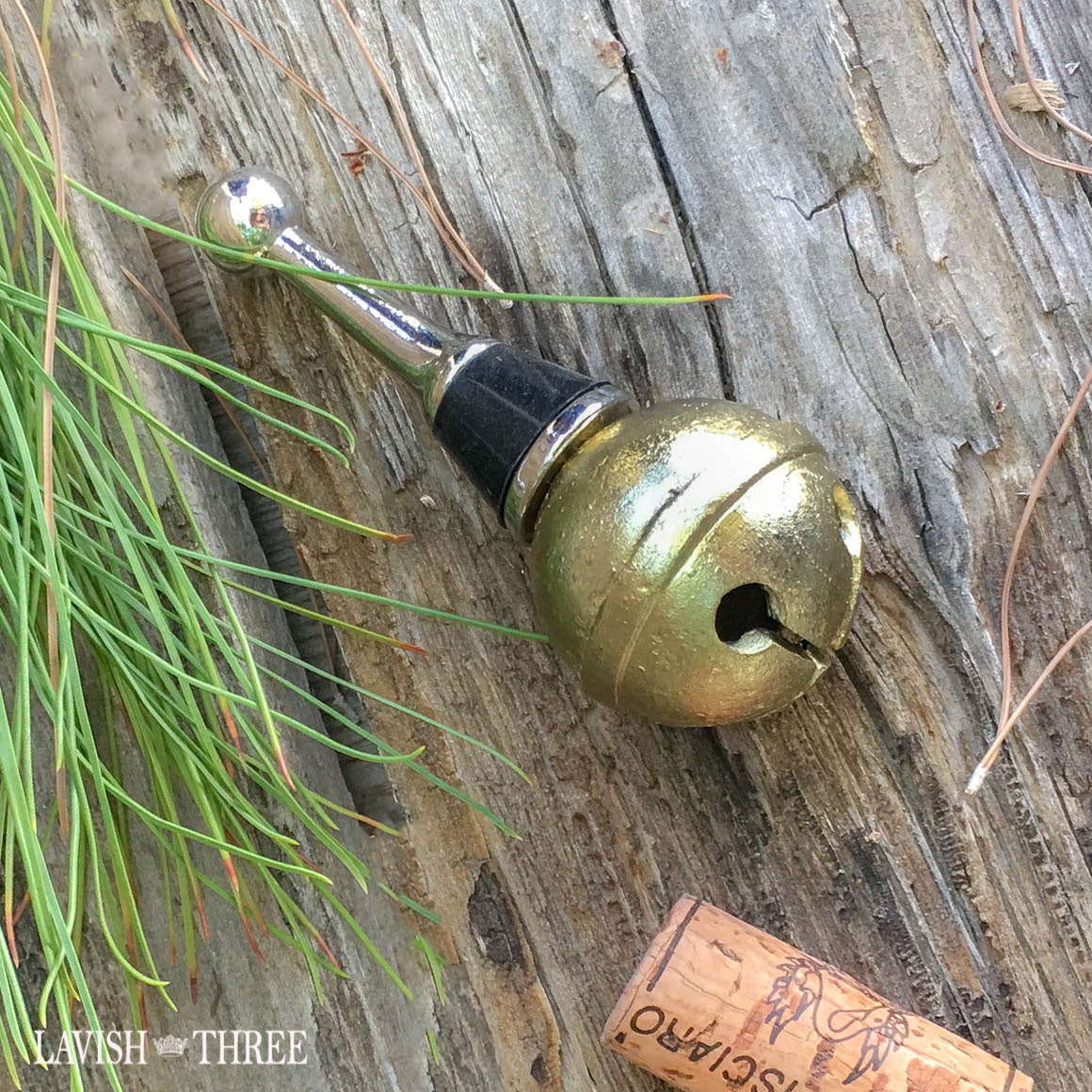 brass bell champagne or wine bottle stopper holiday gift Lavish Three 3