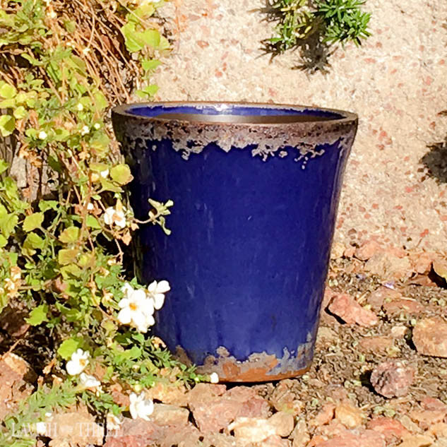 Royal elegant blue crackled garden cache flower pot garden planter lavish three 3