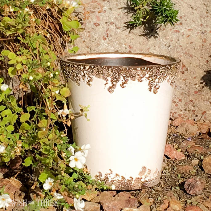 Shabby chic white flower pot garden planter Lavish three 3