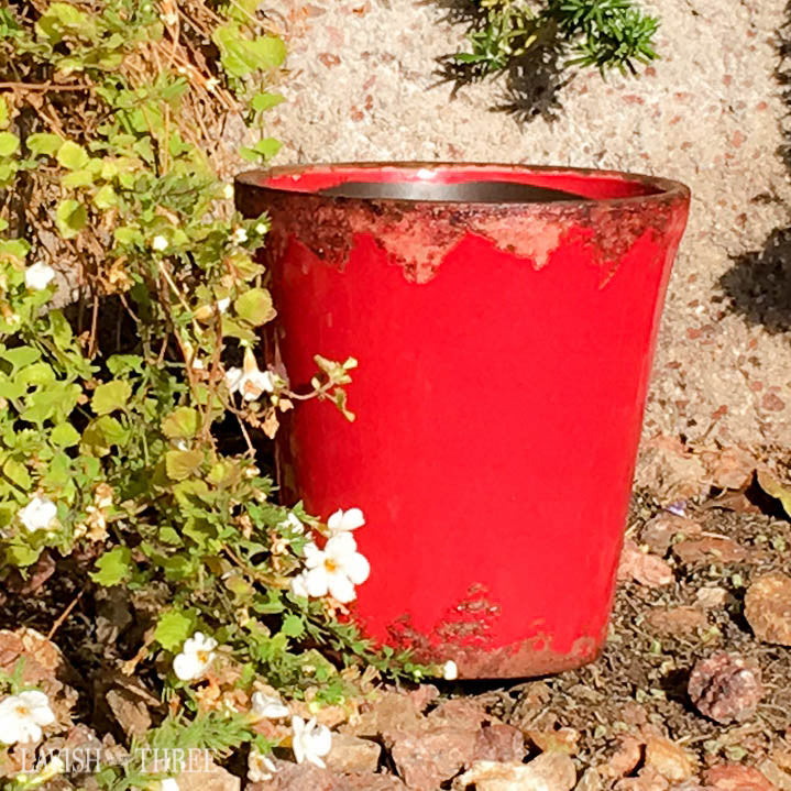 Barn Red crackled garden cache flower pot garden planter lavish three 3