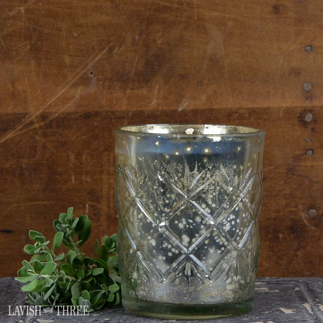 Silver embossed mercury glass candle fresh fig scent