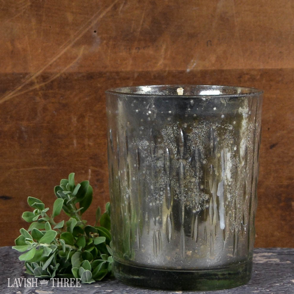 Silver embossed mercruy glass candle fresh fig scent