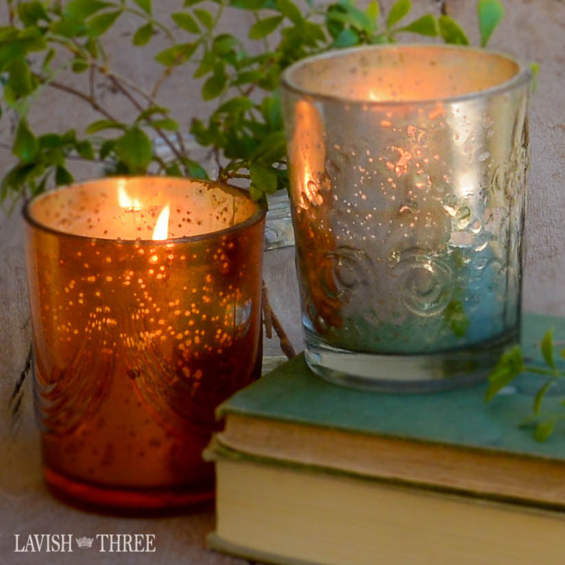 embossed mercury glass candles, fresh fig or cinnamon spice