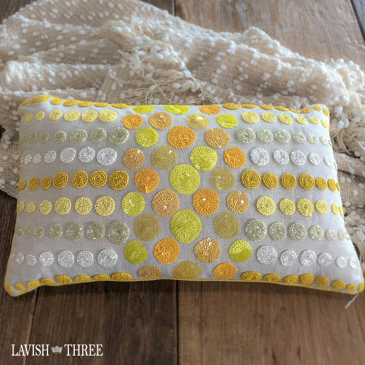 Orange yellow tan beaded circles oblong throw accent pillow lavish three 3