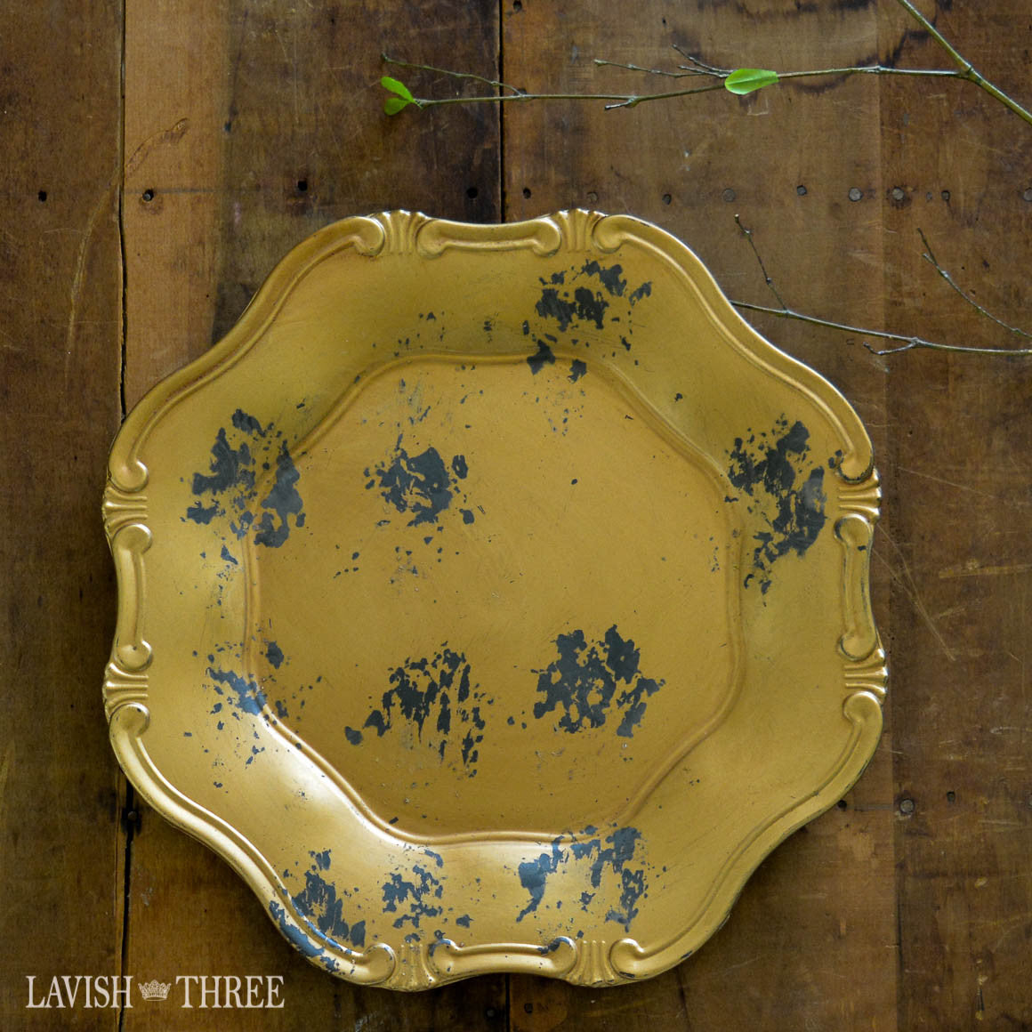French cottage elegant rich gilded gold charger plate