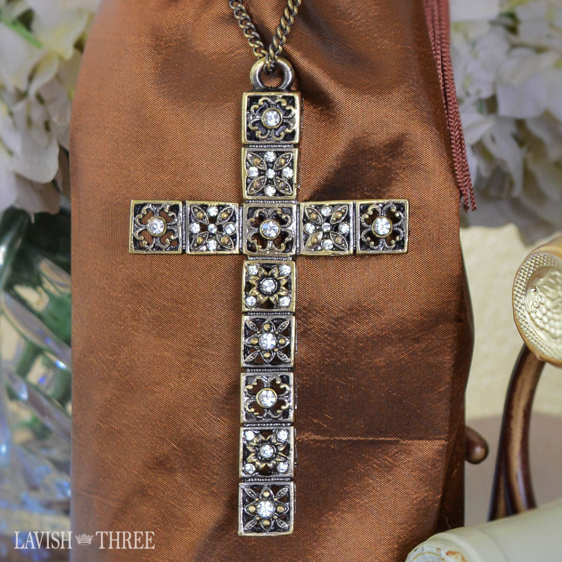 Large brass & crystal cross ornament gift lavish three 3