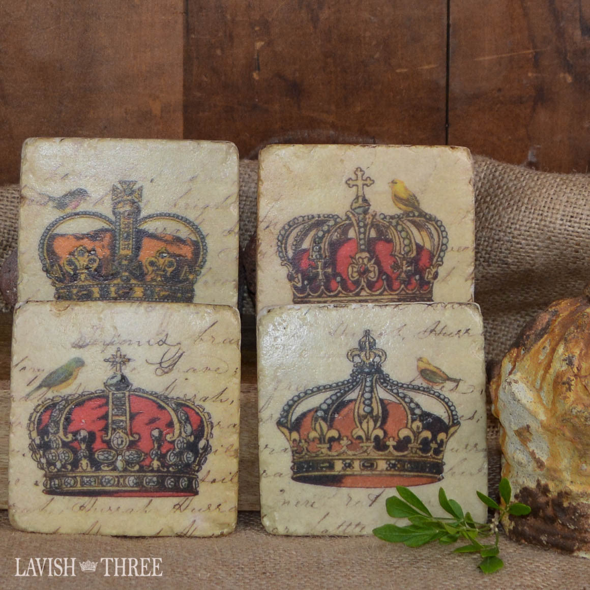 set of coasters with crown and birds