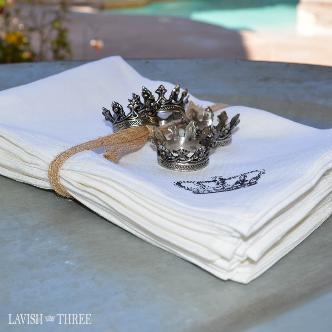 Large white dinner napkins with crown detail organic cotton