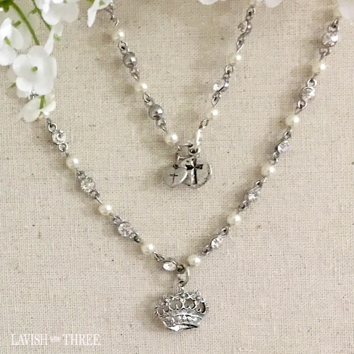 crown charm crystal and pearl silver necklace lavish three 3