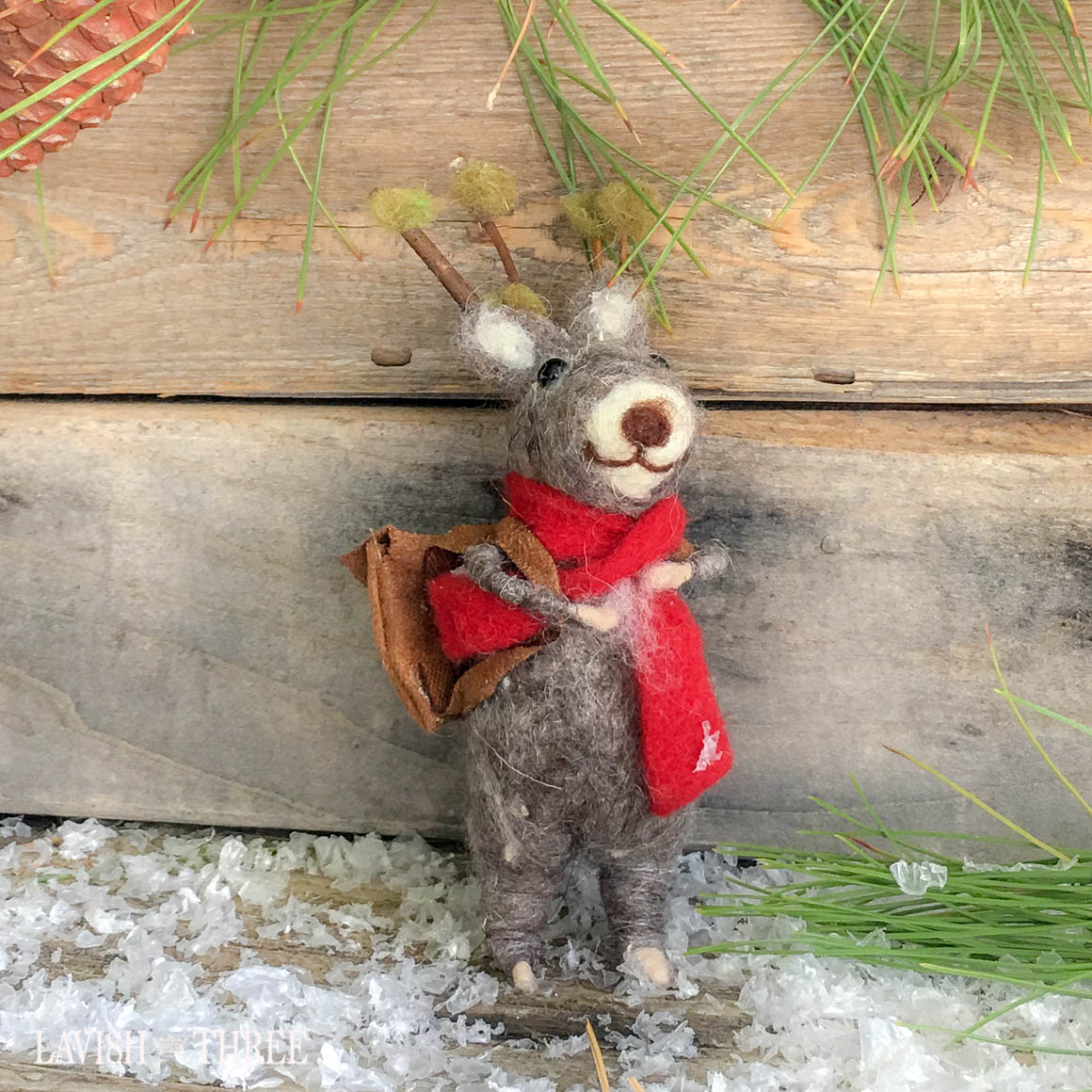 felted deer caroling ornament craft lavish three 3