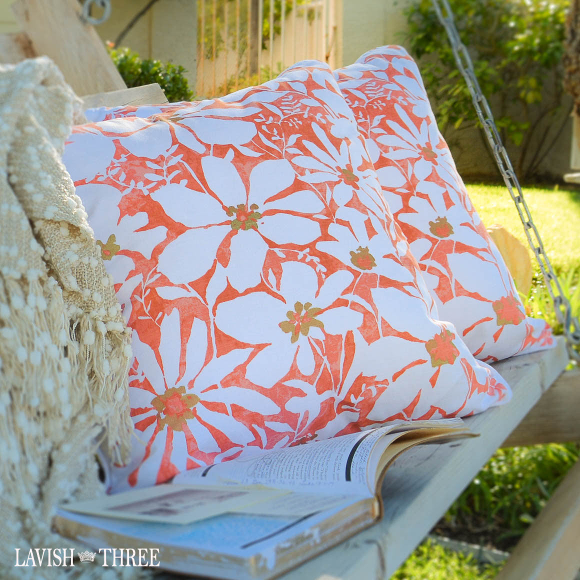 Bright Orange accent throw pillows with white daisies lavish three 3