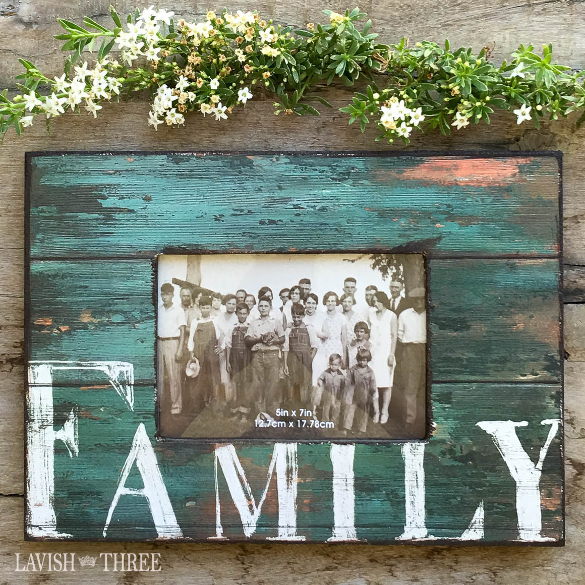 country farmhouse distressed wood family frame in turquoise blue