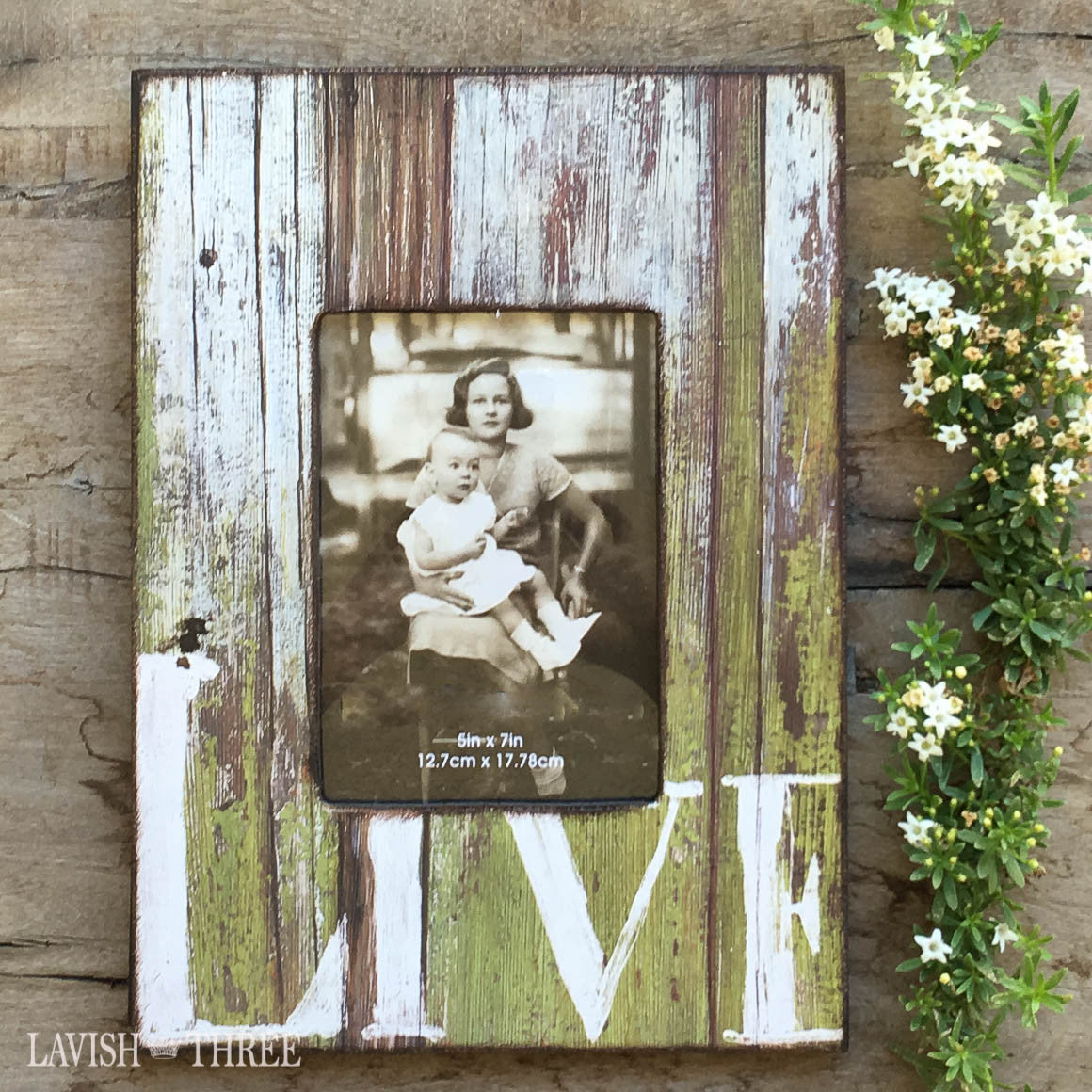 5x7 Vertical Country farmhouse distressed wood frame green with white LIVE painted