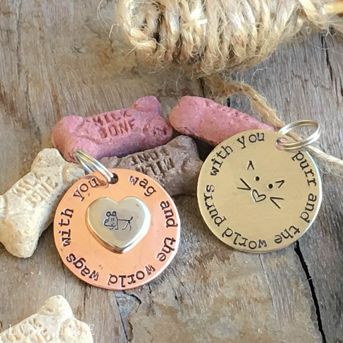 Purr or Wag dog, cat lover hand stamped pet tags, bling brass or nickel