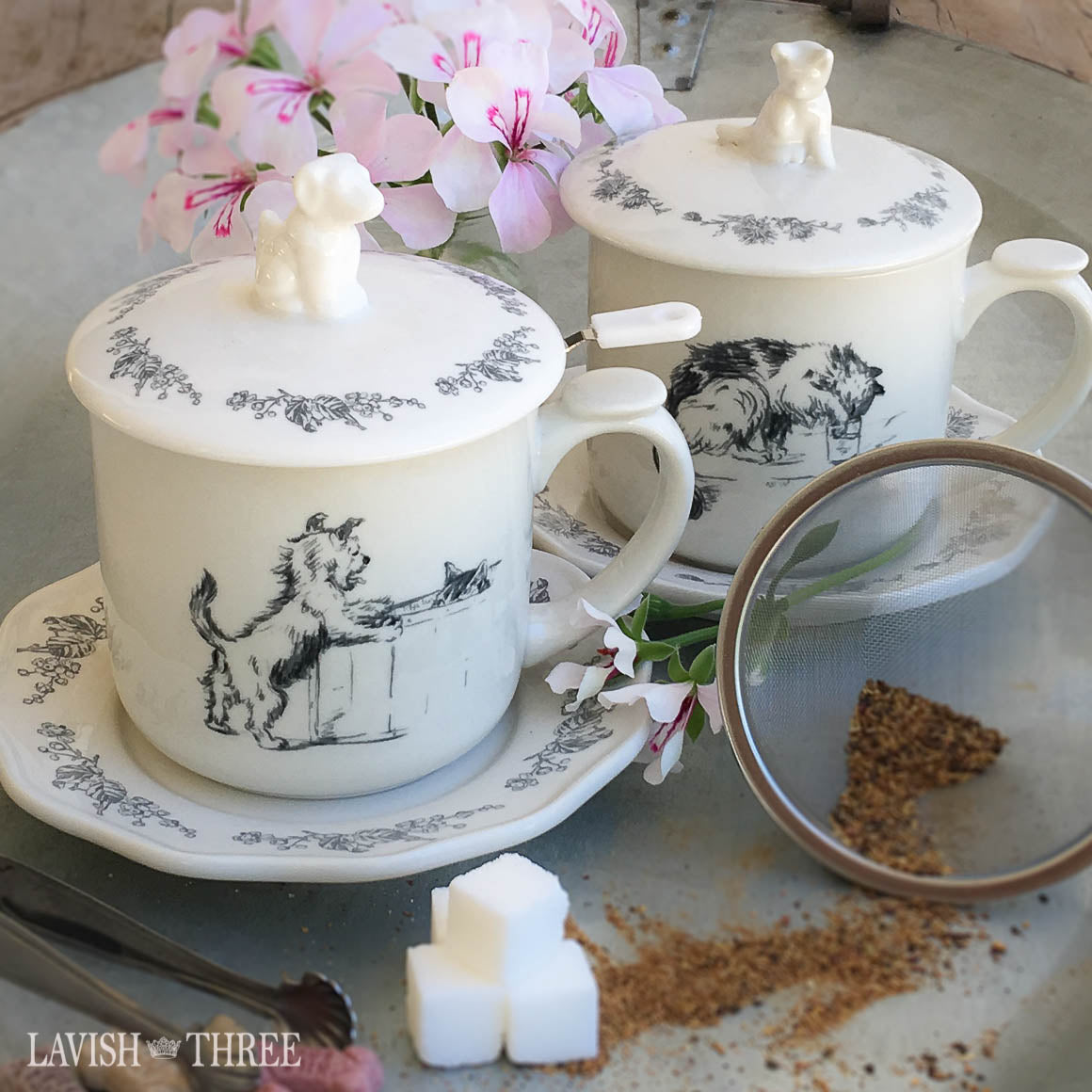 Cat kitten lover tea set with cup saucer and strainer Lavish Three 3