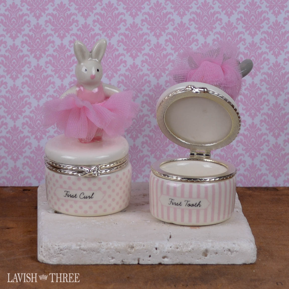 Little Princess' first tooth and curl ceramic baby keepsake