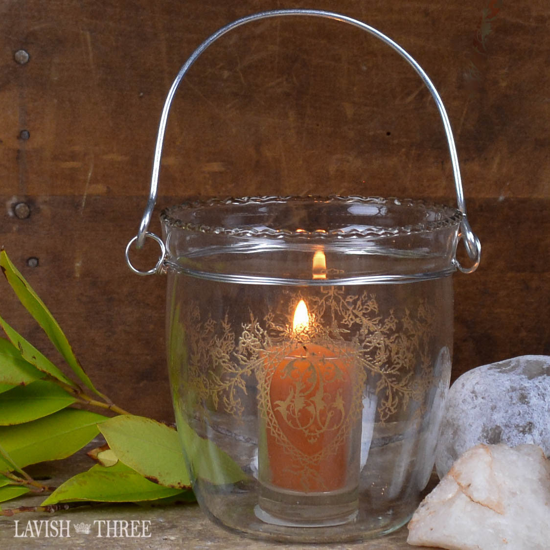 Vintage morrocan boho hanging etched glass votive candle holder lantern with handle