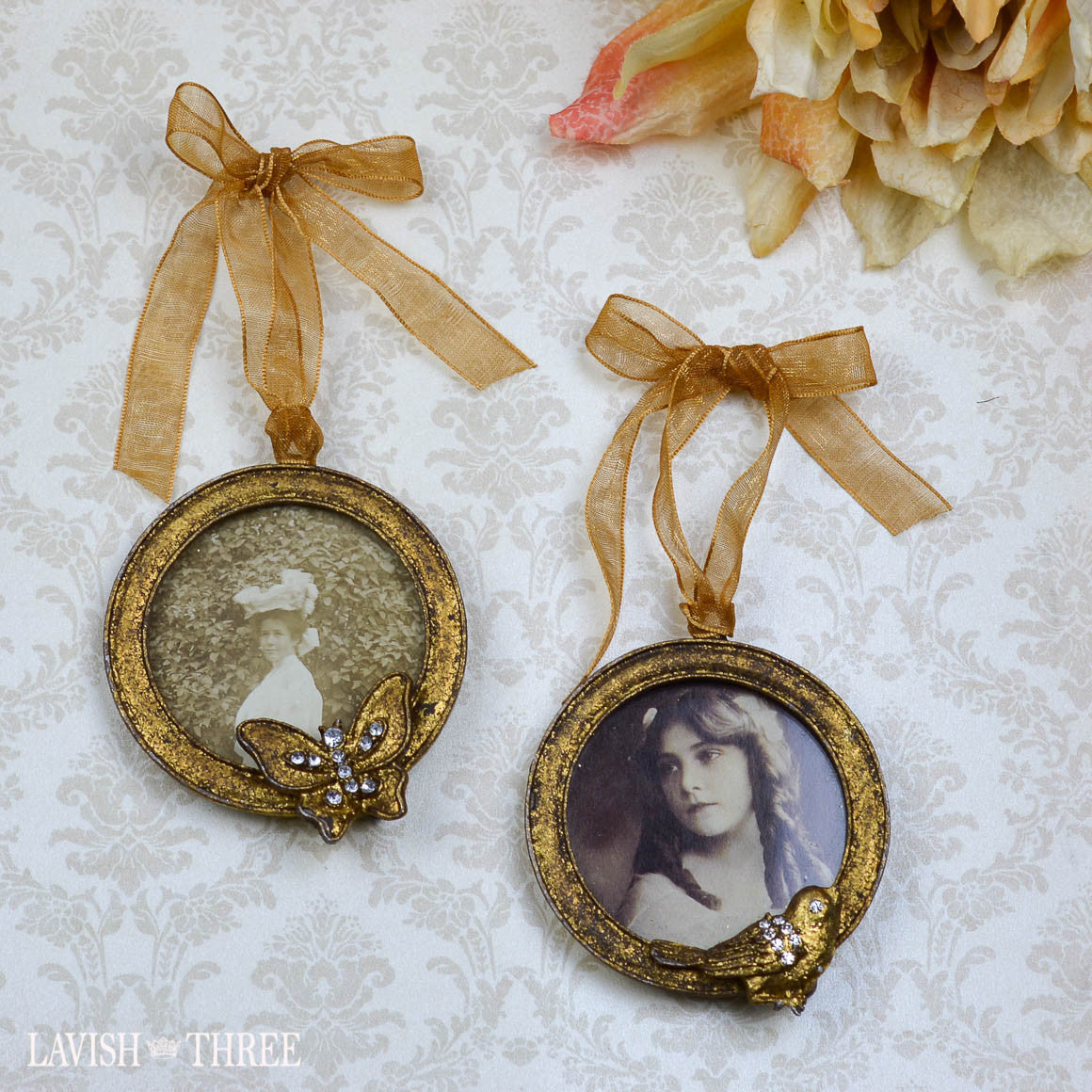 mini gold frames embellished with bird and butterfly hanging ribbon - Mini Gold Frames