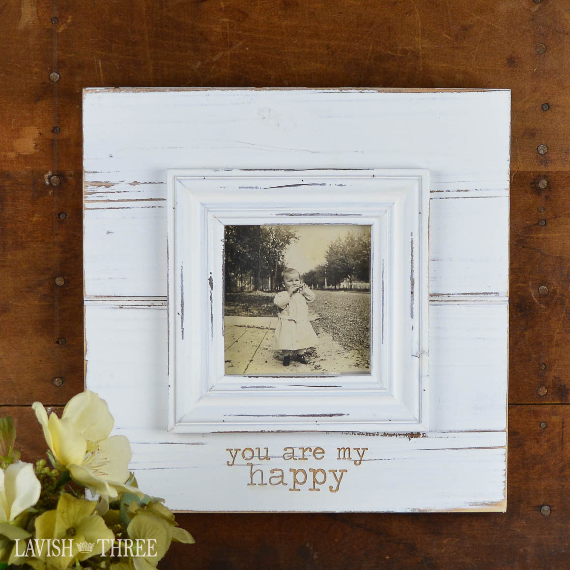 "Shabby white wood frame ""you are my happy"" 3x3 photo"