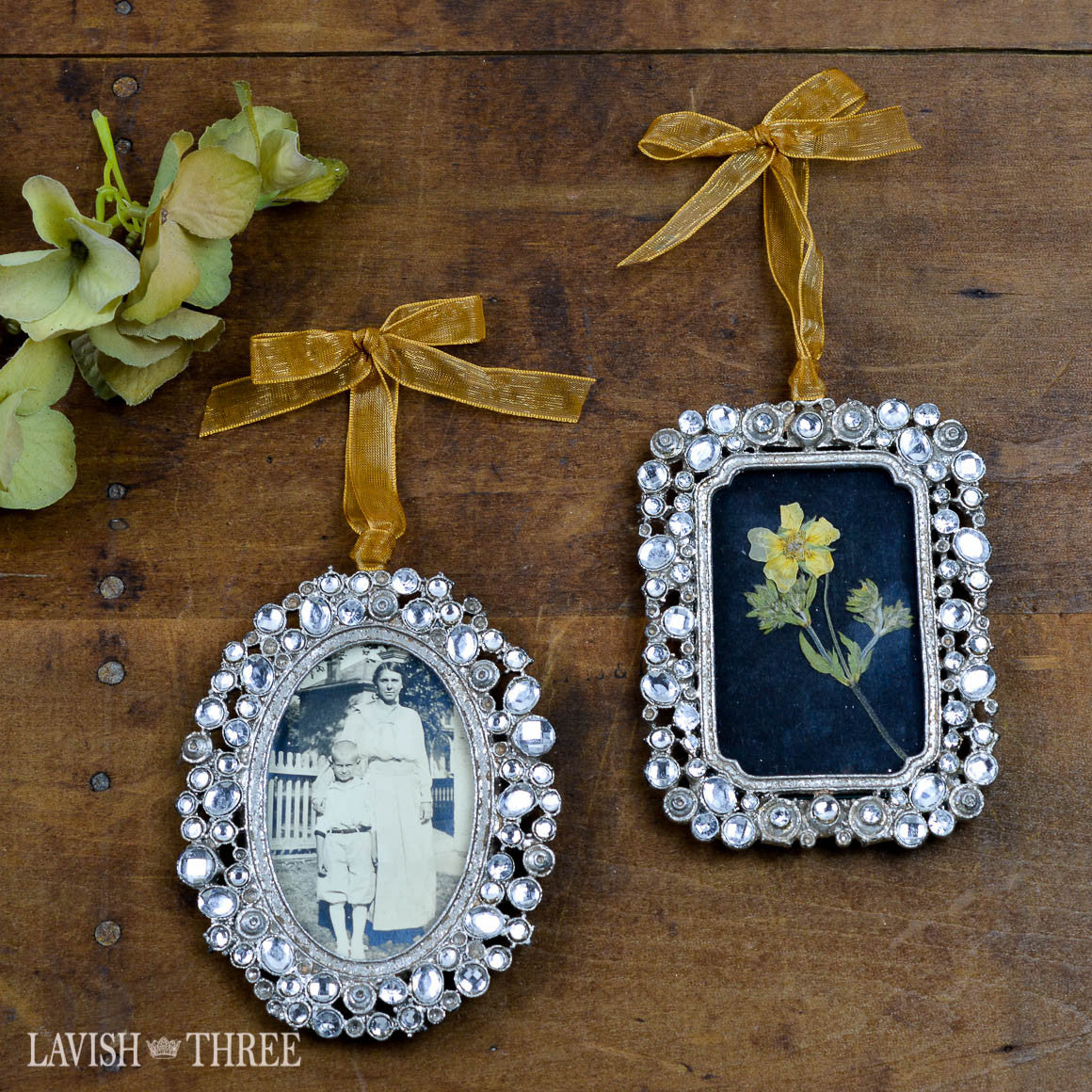 "2""x3"" jeweled pewter frame with gold ribbon Lavish three 3"