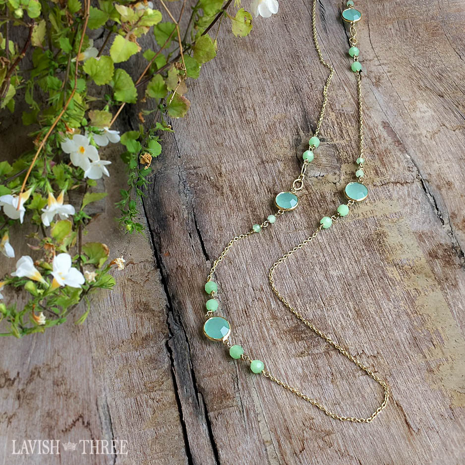 Long gold chain, green beaded necklace strand Lavish Three 3