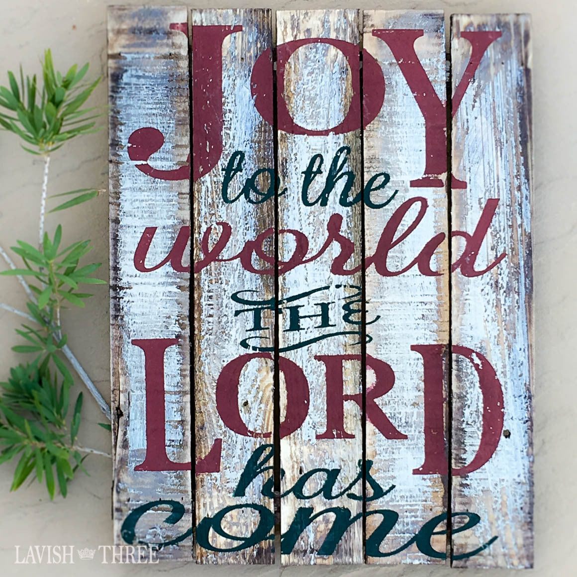 Joy to the world the Lord has come painted wood wall art sign
