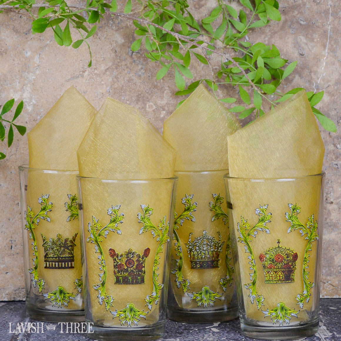 Royal crown mini-juice glasses with inspirational sayings lavish three 3