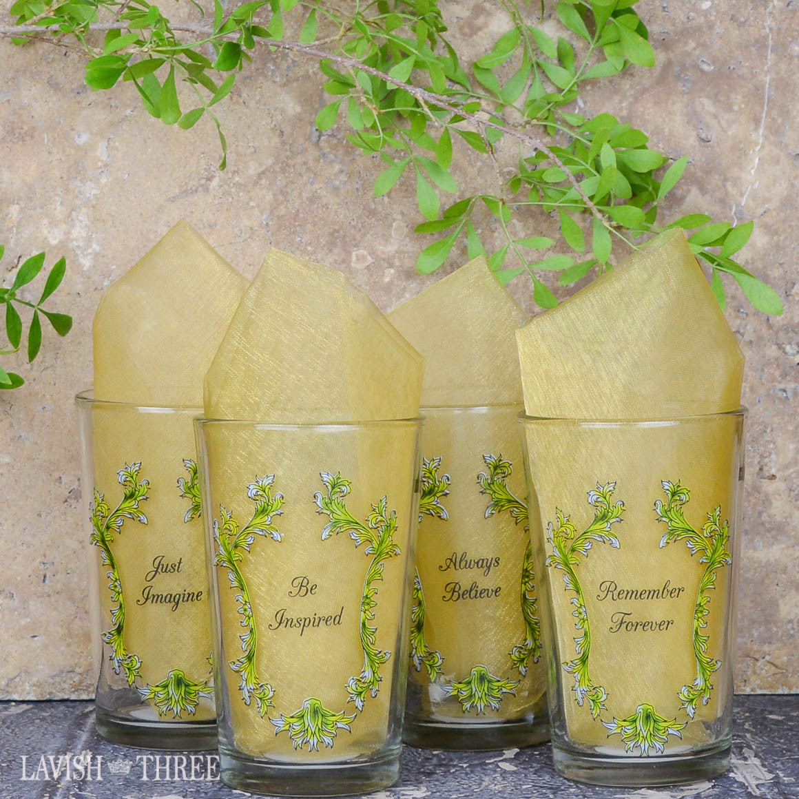 Royal crown mini orange juice glasses with inspirational sayings lavish three 3