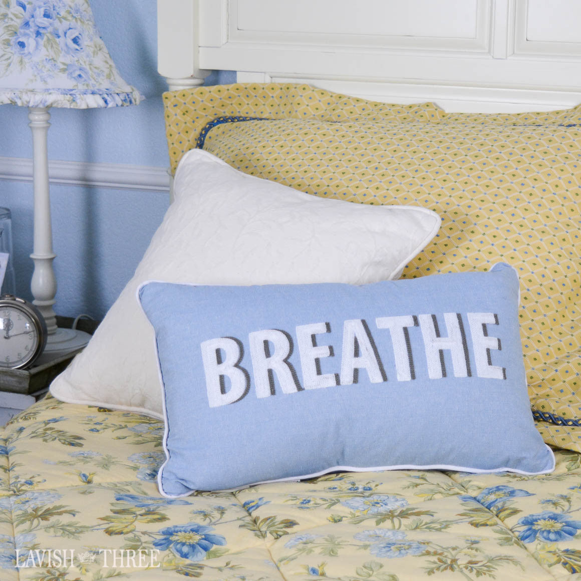 """Breathe"" embroidered accent throw decorator pillow in powder blue & white"