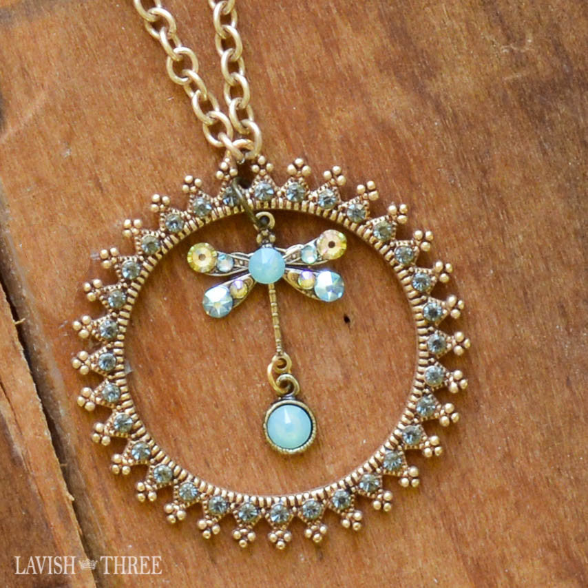 Long gold pearl chain with dragonfly charm pendant