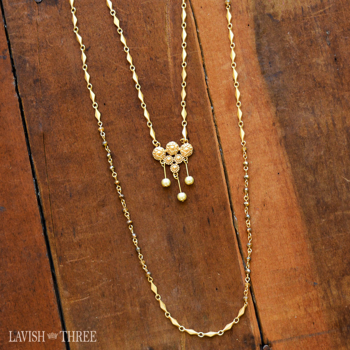 Long gold double chain necklace with pendant charm one of a kind jewelry
