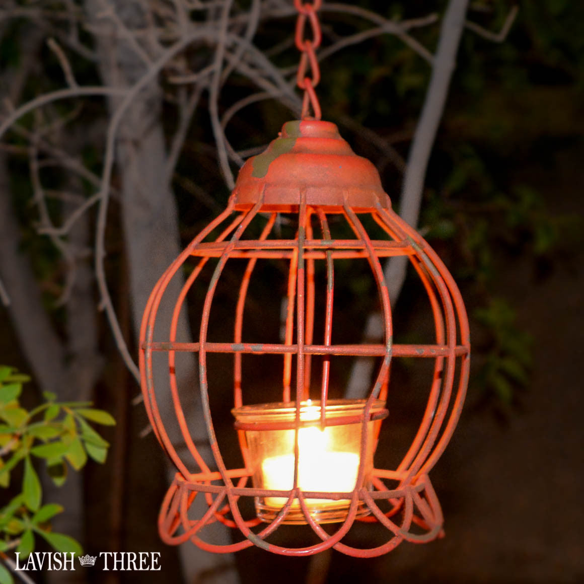 Vintage hanging shabby chic garden metal tealight lantern red