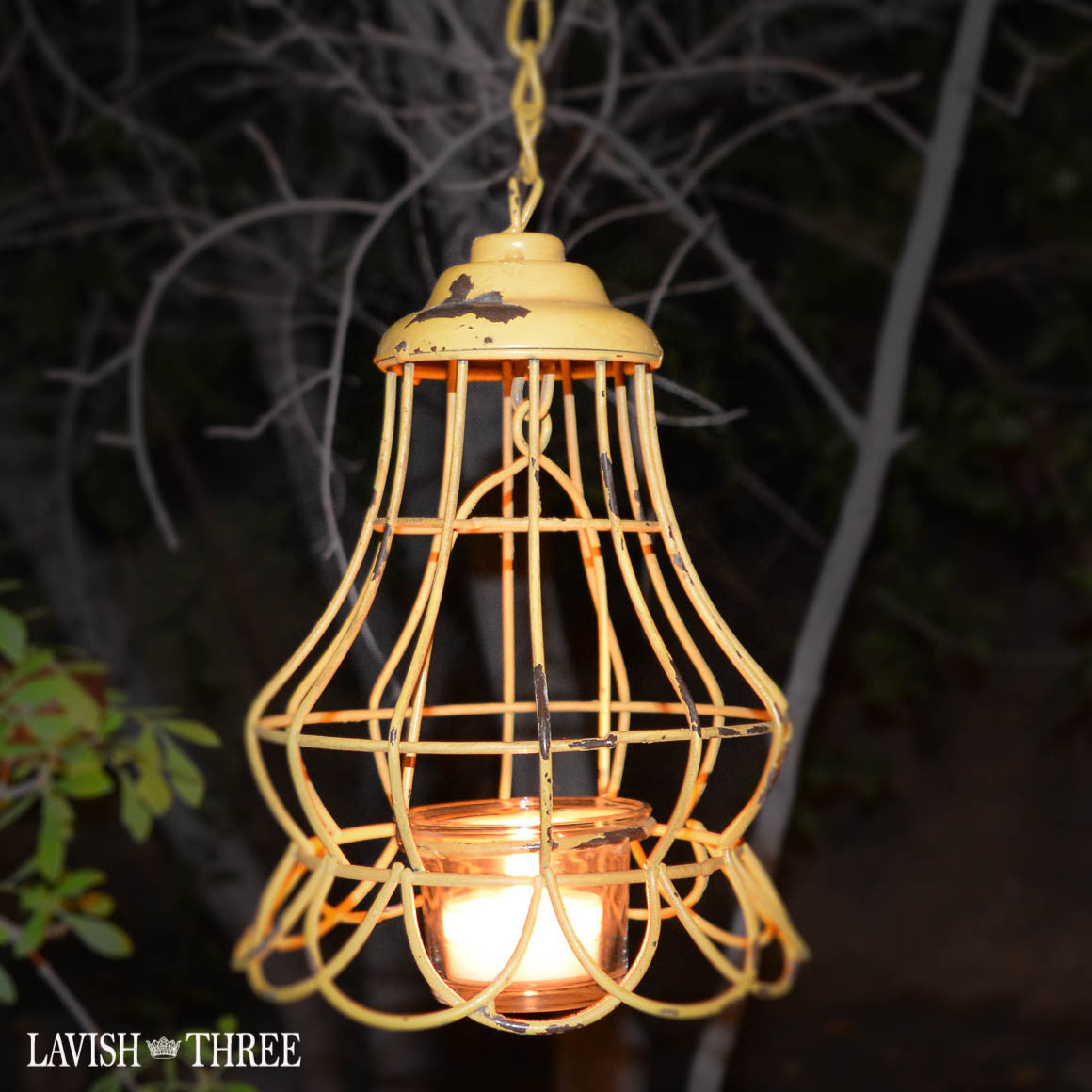 Vintage shabby chic hanging garden metal tealight lantern in sunny yellow