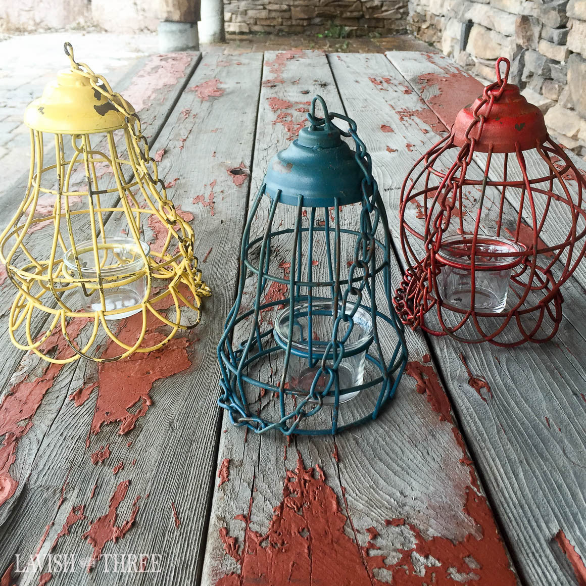 Vintage hanging garden metal lanterns votive candle holder red yellow blue