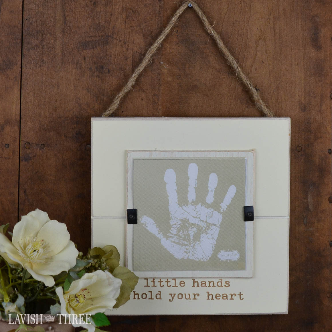 Handprint and footprint baby keepsake frame