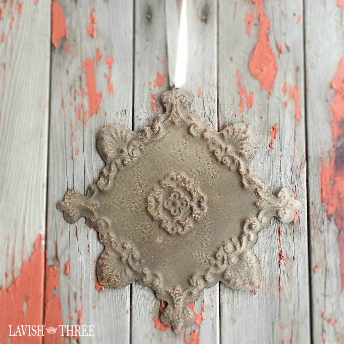 Rustic vintage shabby chic metal wall medallion with satin ribbon bronze