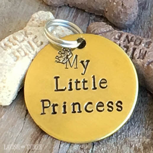 My little princess dog or cat pet tag in hand stamped brass
