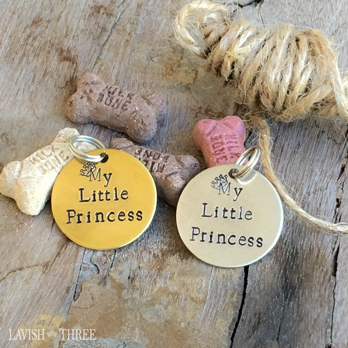 My little princess hand stamped dog or cat pet tag charm, brass or nickel