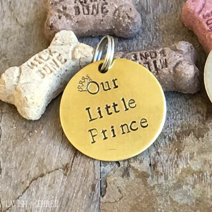 Our little prince dog cat lover charm tag hand stamped  brass