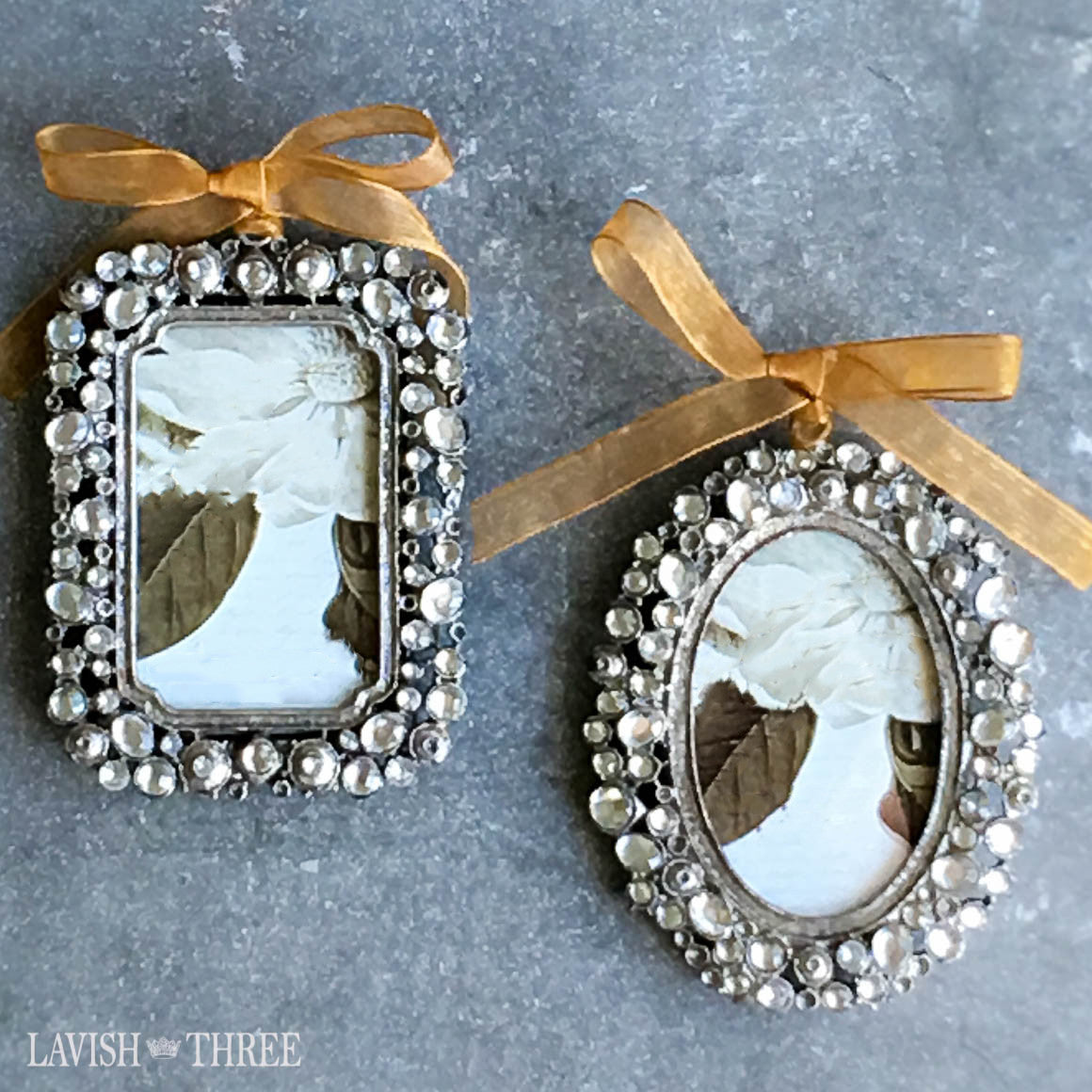Pewter silver embellished frame with ribbon lavish three 3