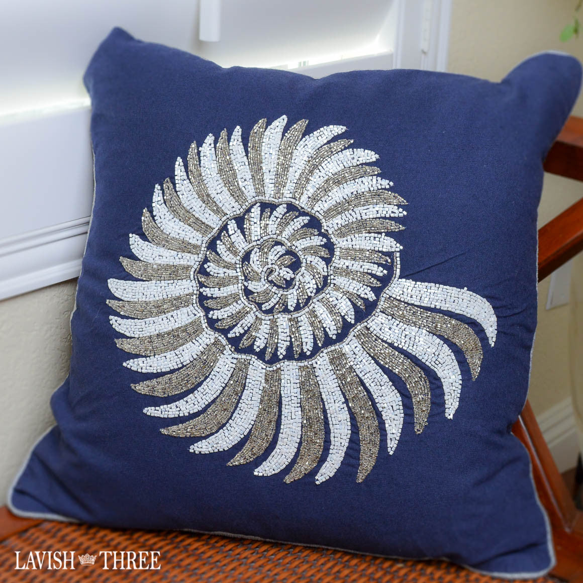Navy Blue And White Beaded Seashell Pillow Lavish Three