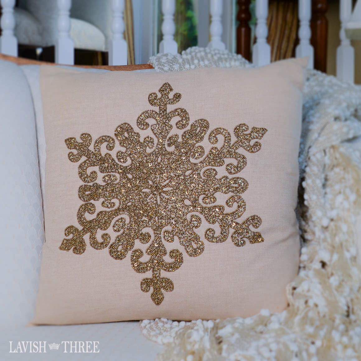 Beaded snowflake decorator christmas holiday winter pillow bronze