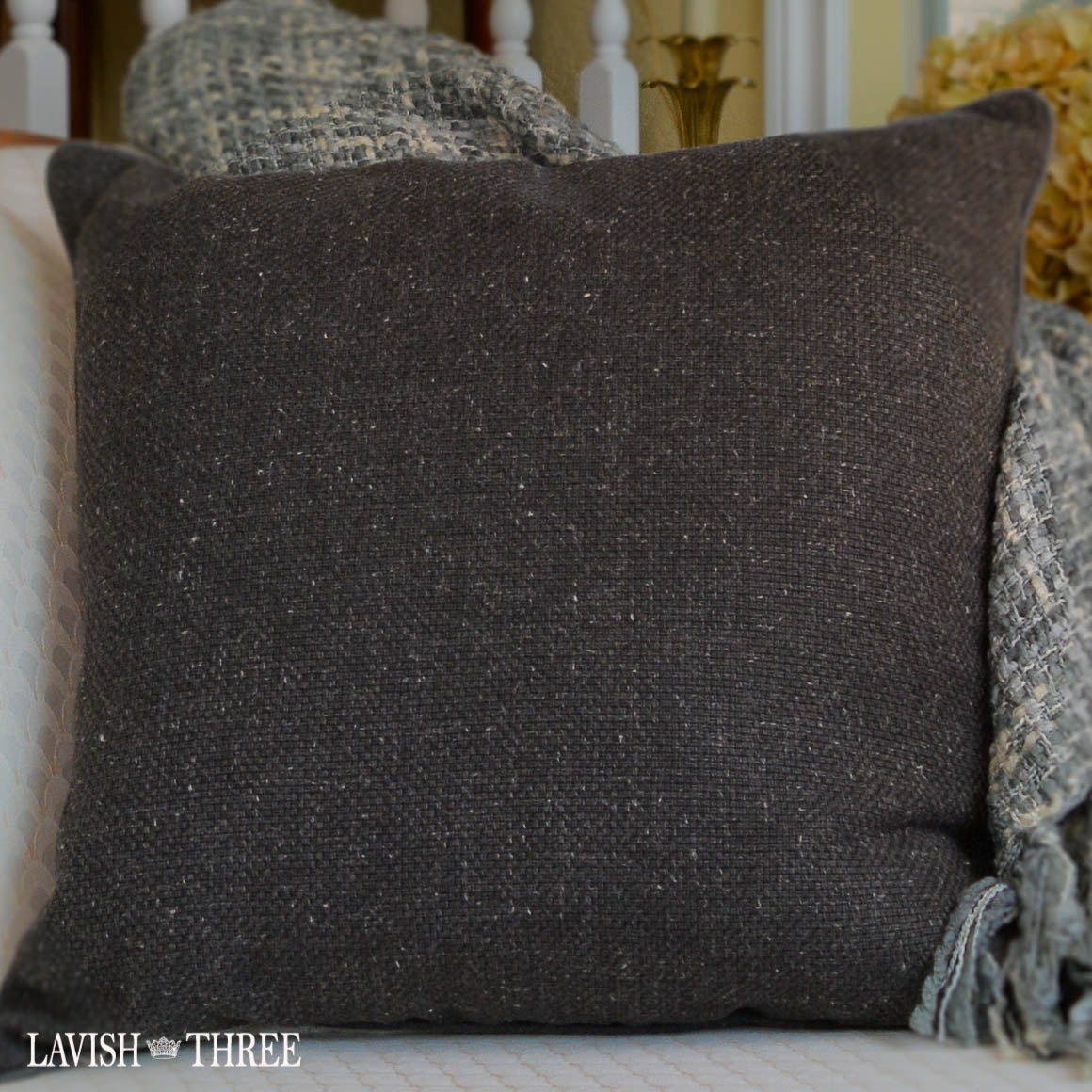 "Charcoal gray tweed 20"" accent throw pillow lavish three 3"