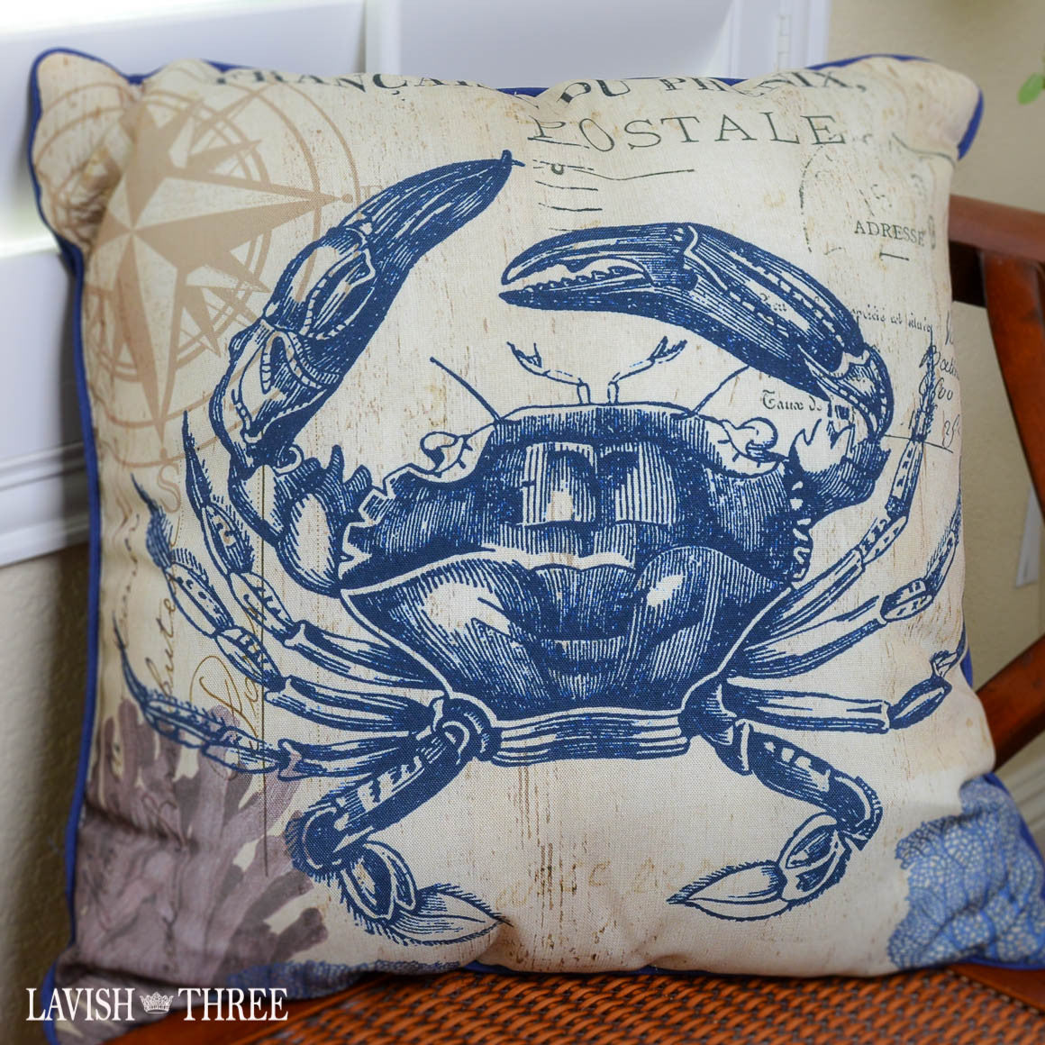 Royal blue crab nautical beach cottage coastal decor throw pillow Lavish three 3