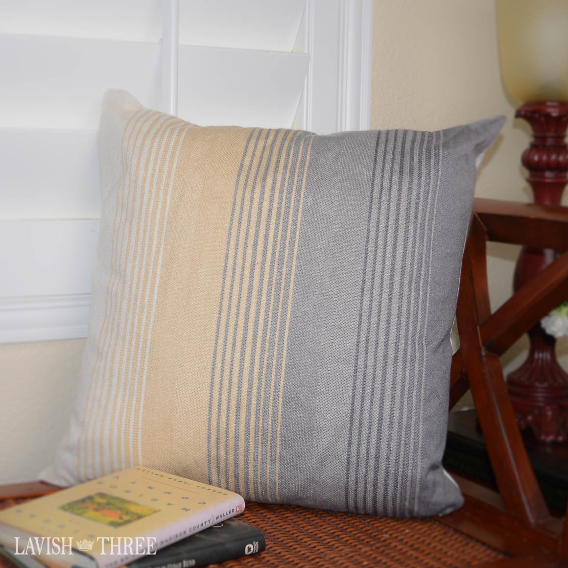 Gray and Yellow Hombre Stripe accent throw Pillow