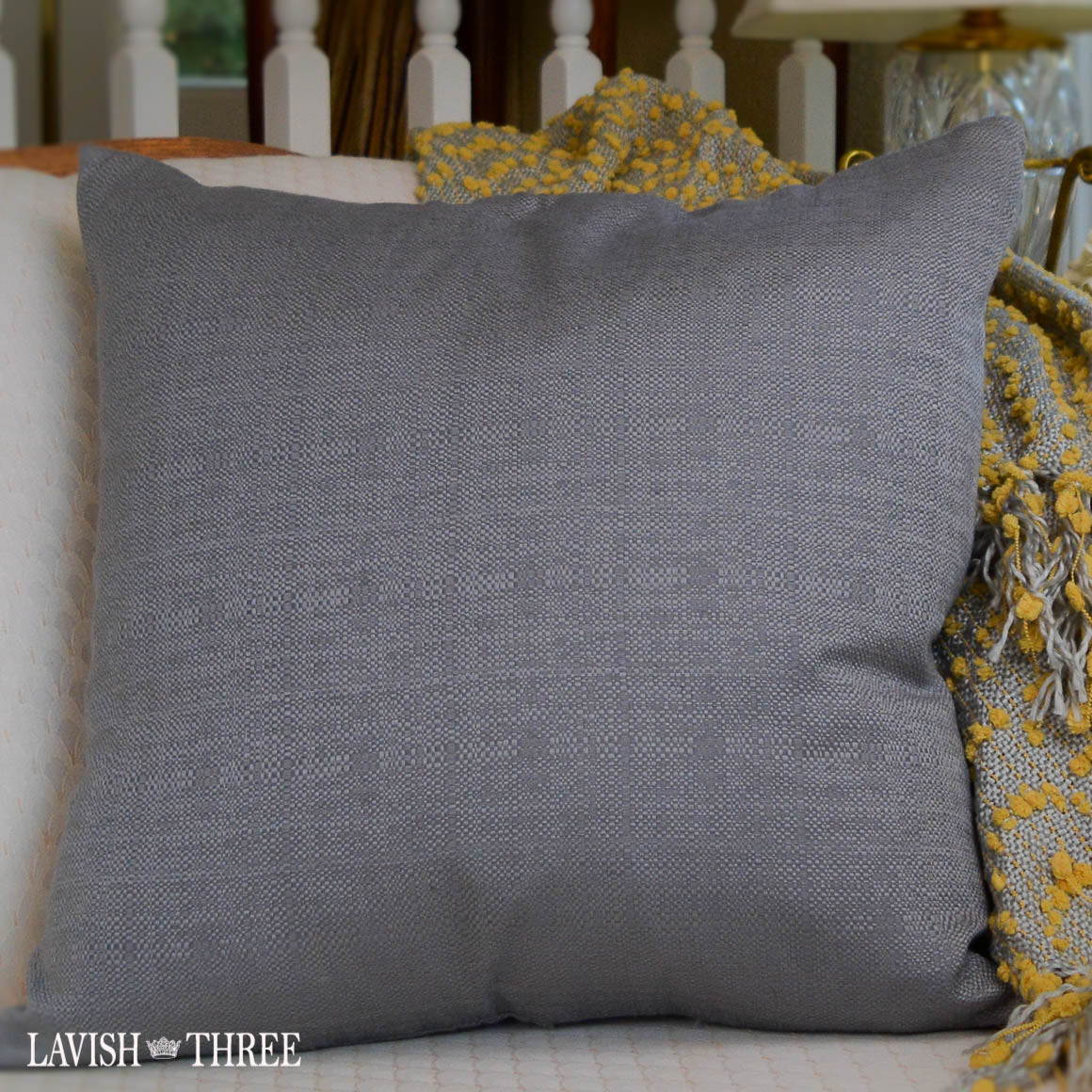 platinum gray decorative accent throw pillow lavish three 3
