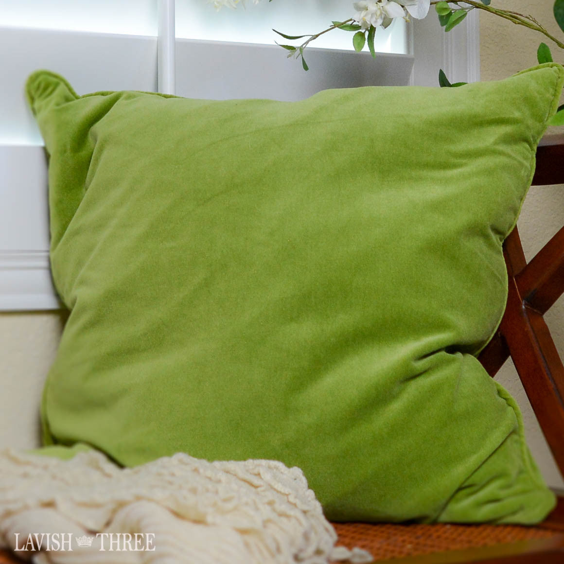 Sage Velvet large Square pillow