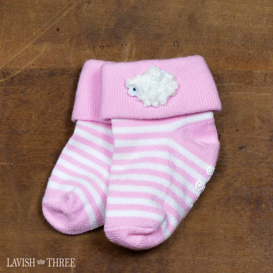 Blessed lamb baby girl pink stripe bib and socks gift lavish three 3
