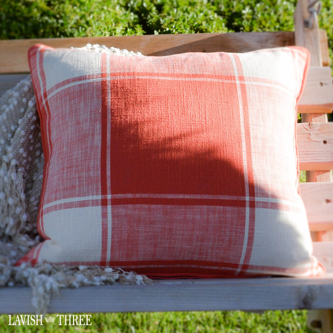 Large window pane plaid throw accent pillow in ivory and coral Lavish three 3