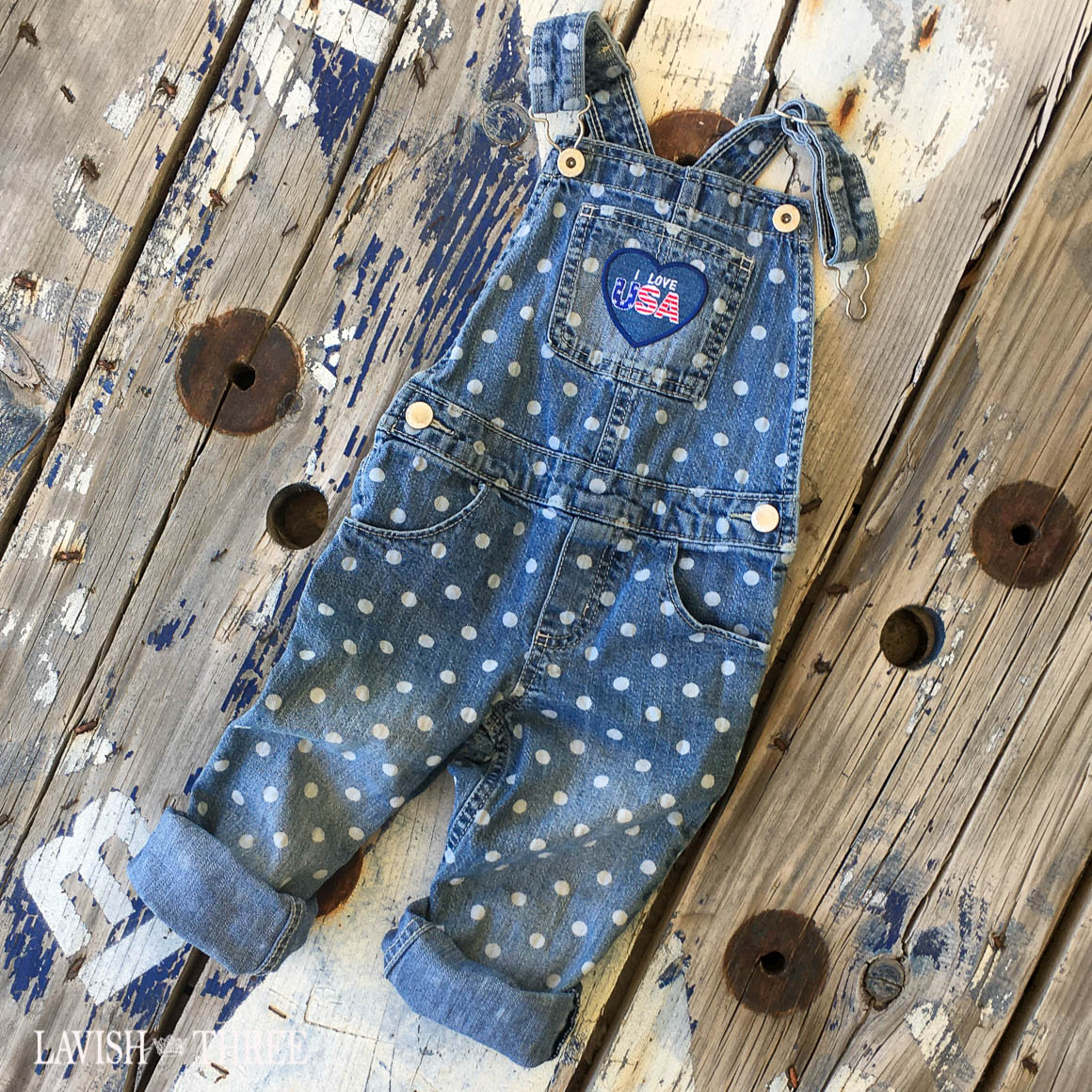 Denim polka dot girls overalls lavish three 3